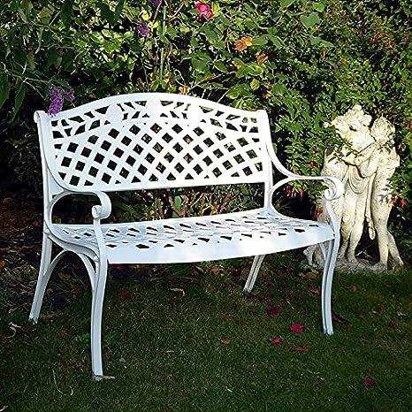 Lazy Susan - Banco metálico para el jardín, diseño de enrejado y rosas, color blanco: Amazon.es: Hogar