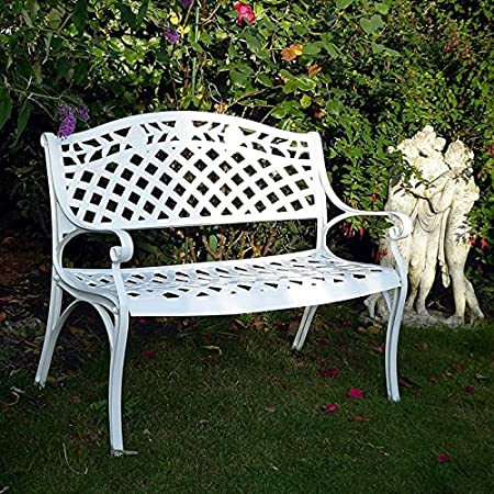 Excellent Lazy Susan Furniture Rose Metal Garden Bench White No Cushion Ncnpc Chair Design For Home Ncnpcorg