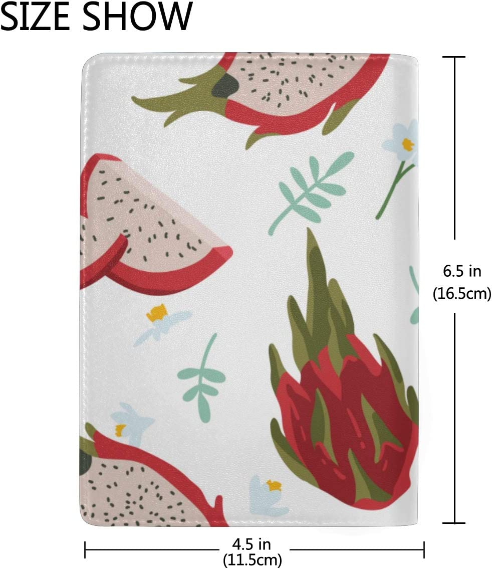 Tropical Exotic Fruit Dragon Fruit Blocking Print Passport Holder Cover Case Travel Luggage Passport Wallet Card Holder Made With Leather For Men Women Kids Family