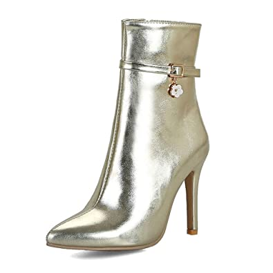 95bc5eaf29a ASO-SLING Women s Sexy Stilettos Pumps Ankle Boots High Heels Short Boots  Pointed Toe Gold