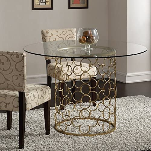 Quatrefoil Brush Gold Dining Room Table