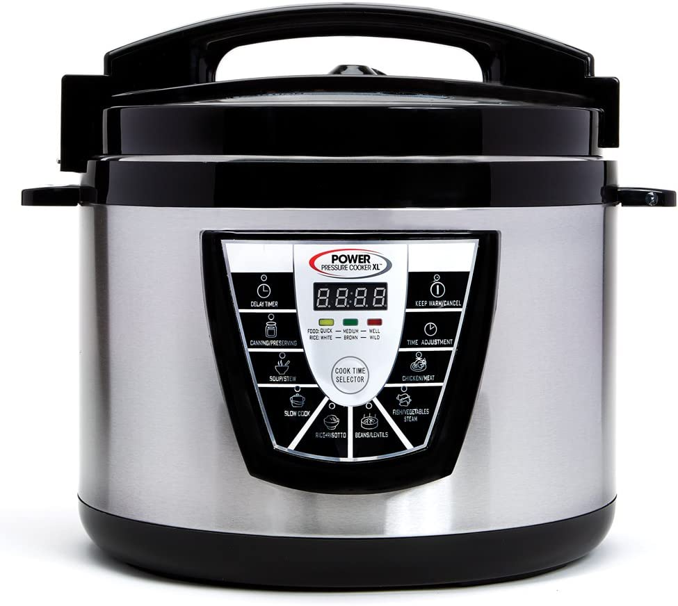 Power Pressure Cooker XL XL 10-Quart Electric Pressure, Slow, Rice Cooker, Steamer & More, 7 One-Touch Programs, Stainless/Black