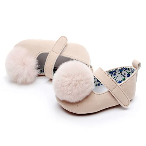 HONGTEYA Bay Girls Suede Fur Ball Mary Jane Sandals Moccasins Soft Sole Crib Toddlers Shoes with