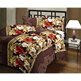 RajasthaniKart Classic Dohars 180 TC Polycotton Single Reversible AC Blanket - Floral, Brown, JR245