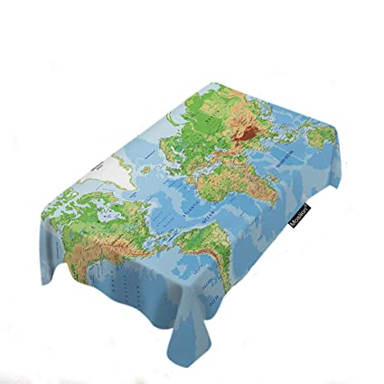 d9661e43c Moslion Map Tablecloth Home Decor World Map Country State Earth Mountain  Ocean Land Tablecloth Polyester Fabric