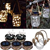 Homeleo 5 Pack Handmade Vintage Solar Mason Jar Star Lights Burlap Hangers, Solar Powered Warm White Mason Jar Firefly Lid Light for Xmas Outdoor Garden Summer Backyard Decoration(Jars Not Included)