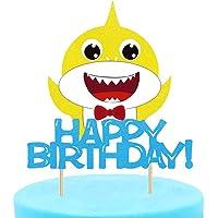 Glitter Little Shark Birthday Cake Topper/Shark Cake Pick for Baby Shower Kids Boys Girls 1 st First Birthday Party Decoration Supplies