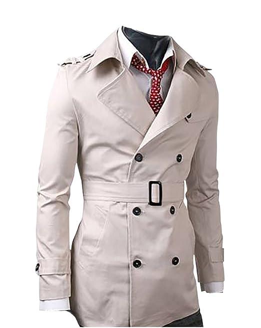 MISSMAO Trench Cappotto Uomo Slim Fit Casual Elegante Giacca Soprabito   Amazon.it  Abbigliamento 12474db72b4