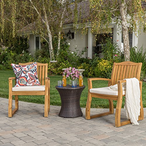 Malibu Outdoor Acacia Wood 3 Piece Chat Set with Wicker Hourglass Table