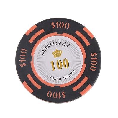 10pcs Jetons de Poker Monte Carlo Etiquette Casino Chips en Argile avec Valeur $1-10000 - 100, L