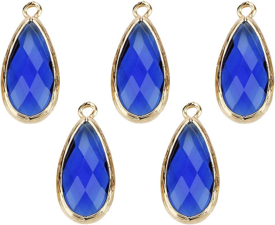 B Baosity 5pc Colgantes de Glass Teardrop Charm Encantos para Fabricación de Joyas - Azul Zafiro