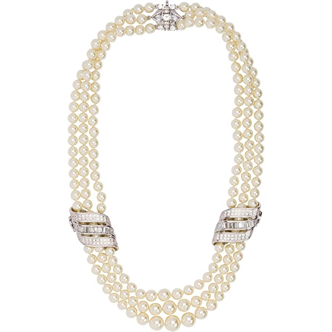 Vintage Style Jewelry, Retro Jewelry Grace Kelly Collection Triple Strand Pearl Wedding Necklace with Velour covered steel case. $99.99 AT vintagedancer.com