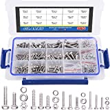 Glarks 665Pcs M3 M4 M5 M6 Stainless Steel Flat Hex Head Screws Bolts Nuts and Flat Gasket Spring Washers Assortment Set