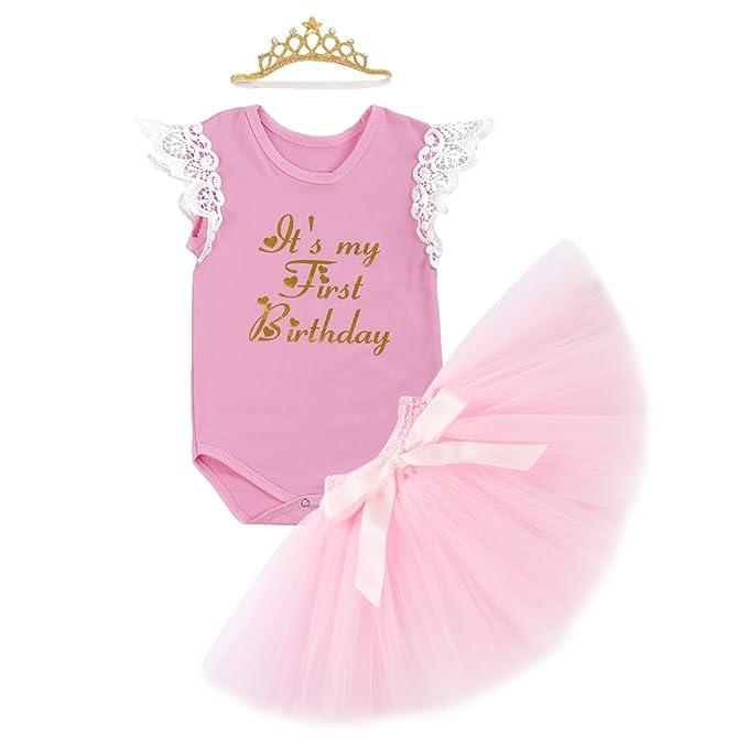 Iwemek Baby Madchen 1 Geburtstag Tutu Kleid Set Romper Rock Tutu