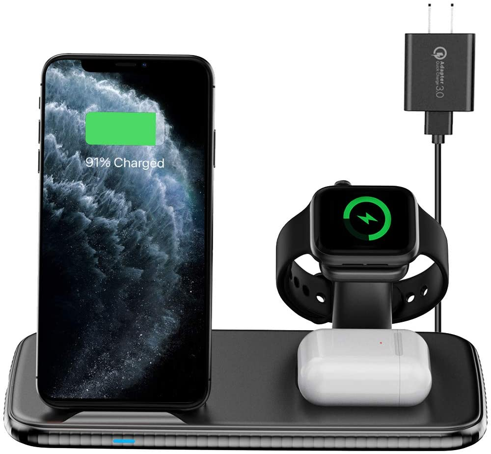 Intoval Wireless Charging Station, for Apple Watch/iPhone/Airpods, iWatch 6/SE/5/4/3/2, iPhone 11 Pro Max XS Max XR X 8 Plus, Airpods Pro/2/1 (with AC Adapter)