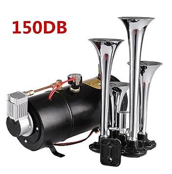 COOCHEER tren Air Horn Kit, 4 Trompetas 100 PSI 12 V Compresor Tanque y Medidor: Amazon.es: Coche y moto