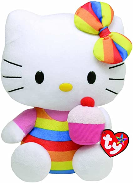 """6/"""" cute soft ty beanie babies hello kitty with cupcake plush doll new tag"""