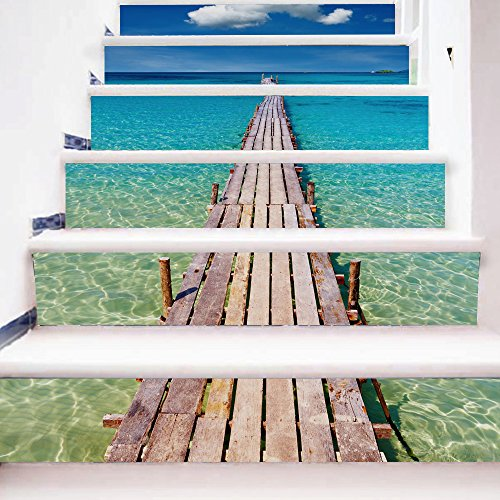 3D Stair Sticker DIY Wall Mural Decorative - Seaside Pier Vacation -Removable Self Adhesive Decor -Stair Risers Sticker 7''W x 39''L (Set of 6)