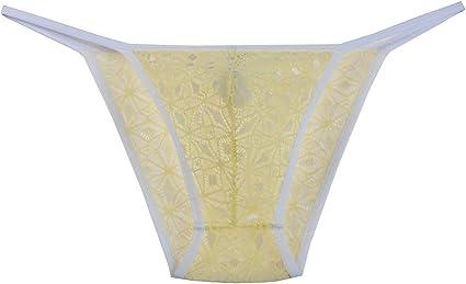 Jaxu Mens Lace Briefs Bikini Side Open Rhombic Holes Underwear Hollow Male Briefs Pants