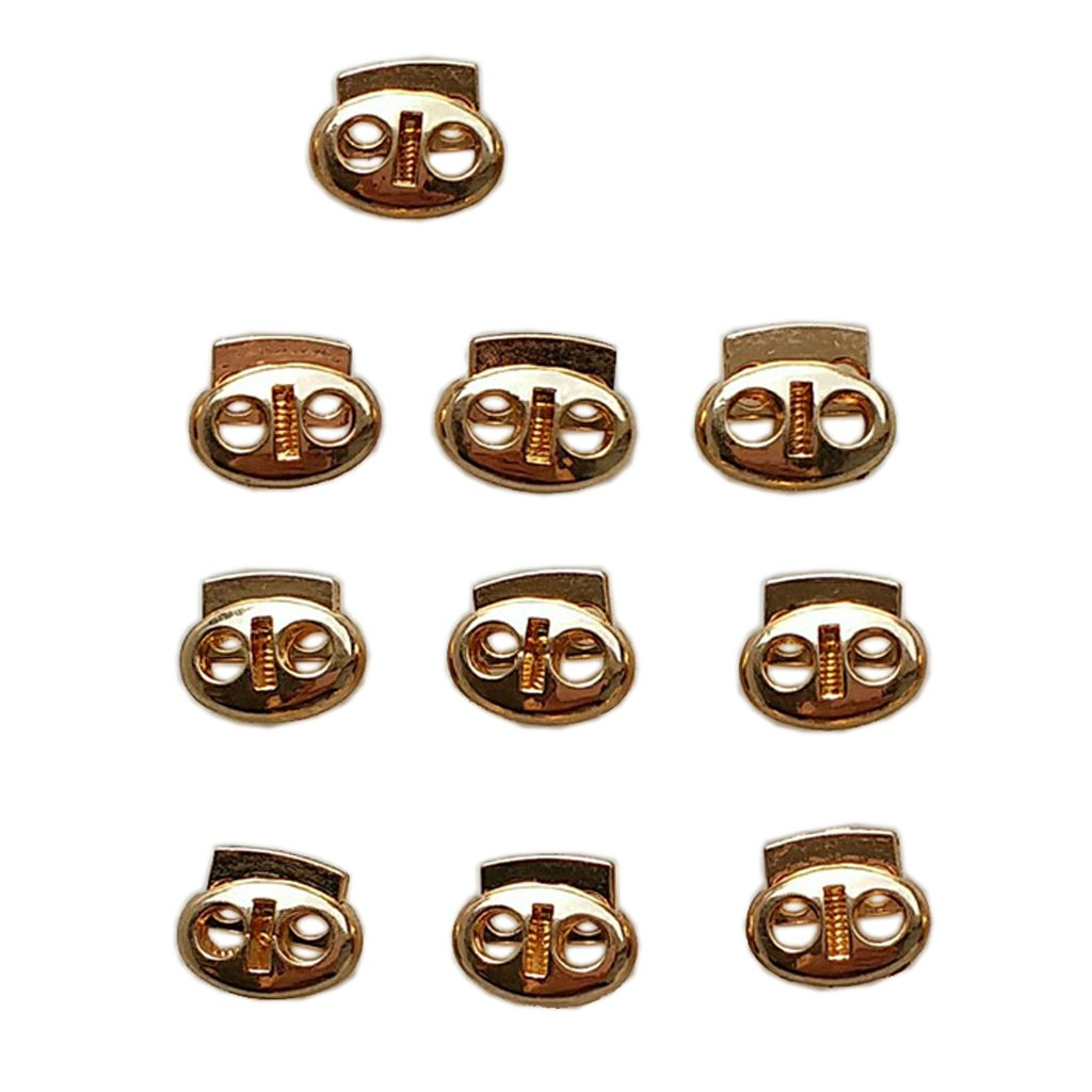10pcs Double Holes Cord Lock Stopper Toggles Spring Adjuster Fasteners Gold Non-brand