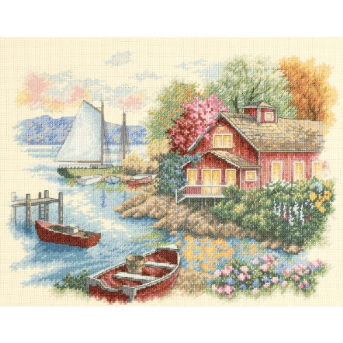 House Counted Cross Stitch - Dimensions 'Peaceful Lake House' Counted Cross Stitch Kit, 14 Count Ivory Aida, 14