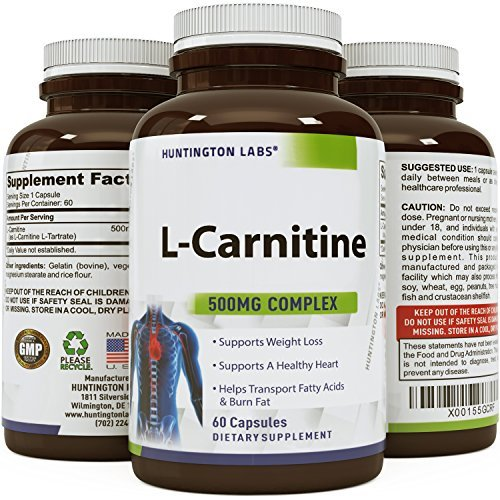 Premium L Carnitine Tartrate 500 Mg Supplement for Men and Women - Powerful Antioxidant to Increase Athletic Performance - Promotes Weight Loss & Burns Fat- Boost Memory & Increase Energy by California Products