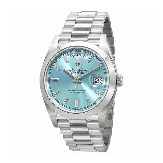 Rolex Oyster Perpetual Day-Date hielo azul Baguette Dial Platino Presidente automático Mens Reloj 228206ibldp: Amazon.es: Relojes