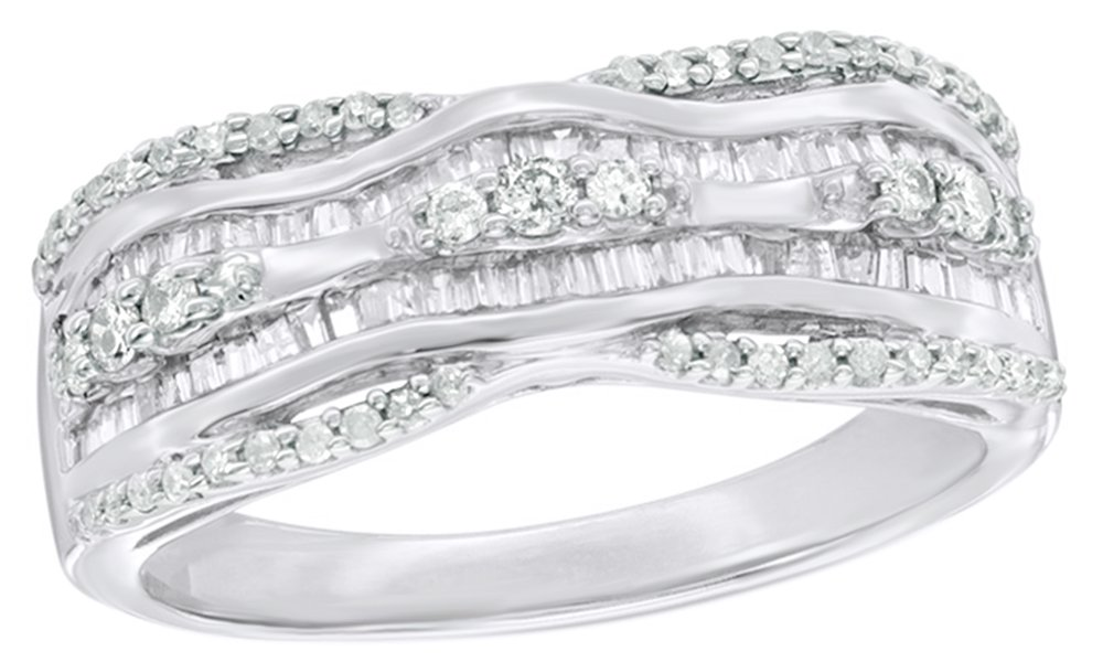 White Natural Diamond Wavy Top Multi Row Ring In 10K Solid Gold by AFFY (Image #1)