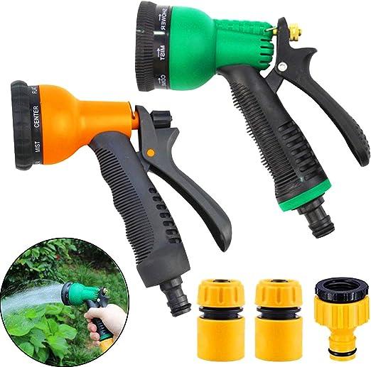 Osuter Pistola de Riego, 2PCS Pistola de Agua de Jardín con 8 Modos de Ajustable Pulverización con 3PCS Adaptador de Grifo de Manguera para Coches Riego de Jardín Limpiar: Amazon.es: Jardín