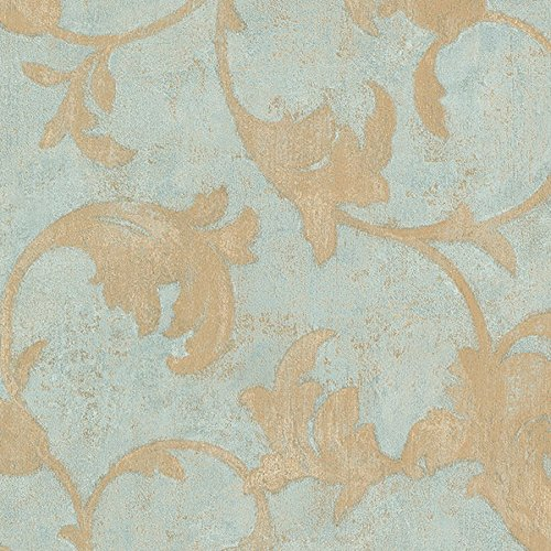 Manhattan Comfort NWTE29309 Hoffman Winding Scroll Textured Wallpaper, Blue, Metallic Gold, Turquoise Beige, Teal ()