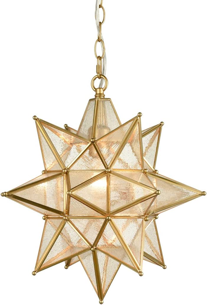 AXILAND Brass Moravian Star Light Seeded Glass Pendant Light 15 Inches