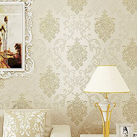 Modern Home Wallpaper Luxury 3D Non-Woven Embossed Flocking Art Wall Mural Decals By Churun (Wallpaper Luxury)
