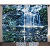 Ambesonne Magic Home Decor Collection, Fairy Fantastic Waterfalls at Night with Sparkling Light on the Water Fresh Landscape, Living Room Bedroom Curtain 2 Panels Set, 108 X 84 Inches, Grey Green