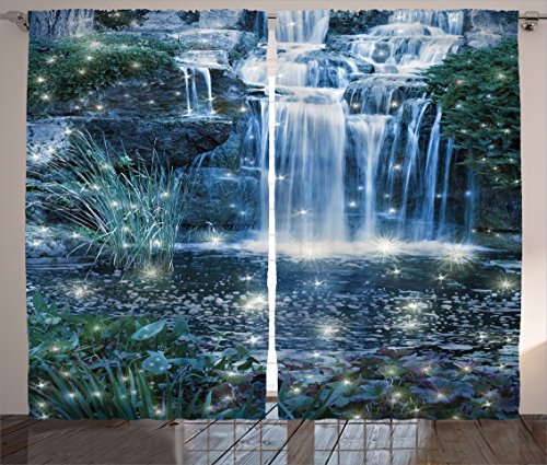Modern Curtains Home Decor by Ambesonne, Fairy Fantastic Waterfalls at Night with Light Magic on Water Fresh Landscape, Living Room Bedroom Curtain 2 Panels Set, 108 X 84 Inches, Grey Green Waterfall Night Light