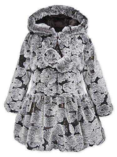 Widgeon Toddler Girls' Pompom Hooded Zip Faux Fur Coat 3632, Flc/Chocolate Flower, 4T by Widgeon