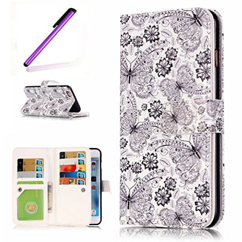 (iPhone 6 Case EMAXELER Colorful Butterflies Design Nine Card 3D Pattern Soft PU Leather Flip Leather Wallet [Credict Holder] Protective Skin Stand Feature for iPhone 6S White Flower Butterfly)