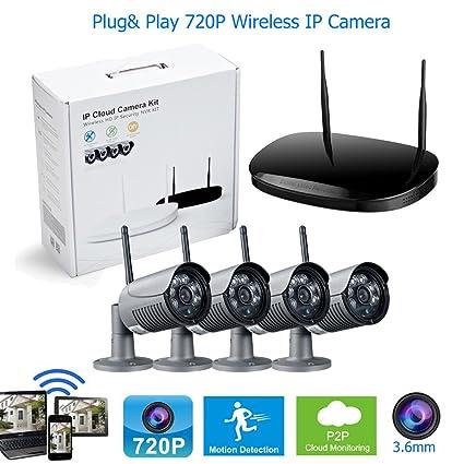 4 Cámara HD 720P Wifi inalámbrico al aire libre vigilancia Bullet cámara sistema 3.6mm lente