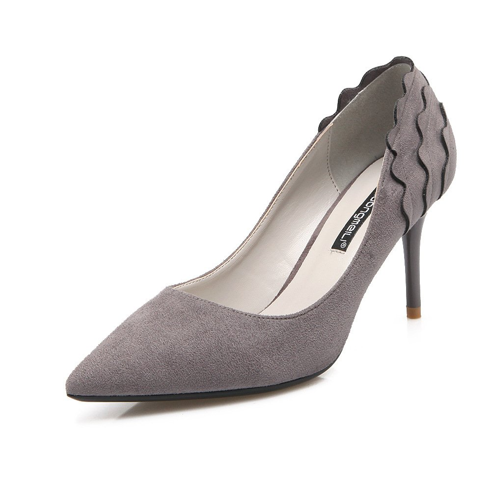 Tip of the high-heel shoes satin high-heeled shoes fine with Su-flower Women's singles shoes, gray, 38
