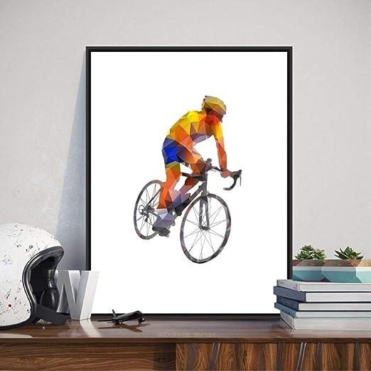 ACYKM Resumen Ciclista Imprime Colorido Bicicleta Deportes Cartel ...