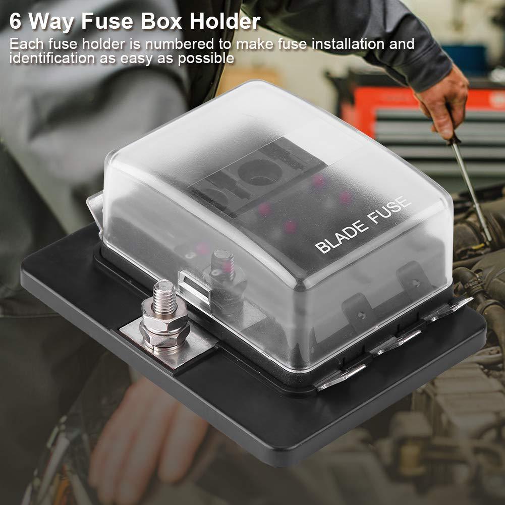 6 Way Fuse Box Holder Car Boat DC 10-32V Fuse