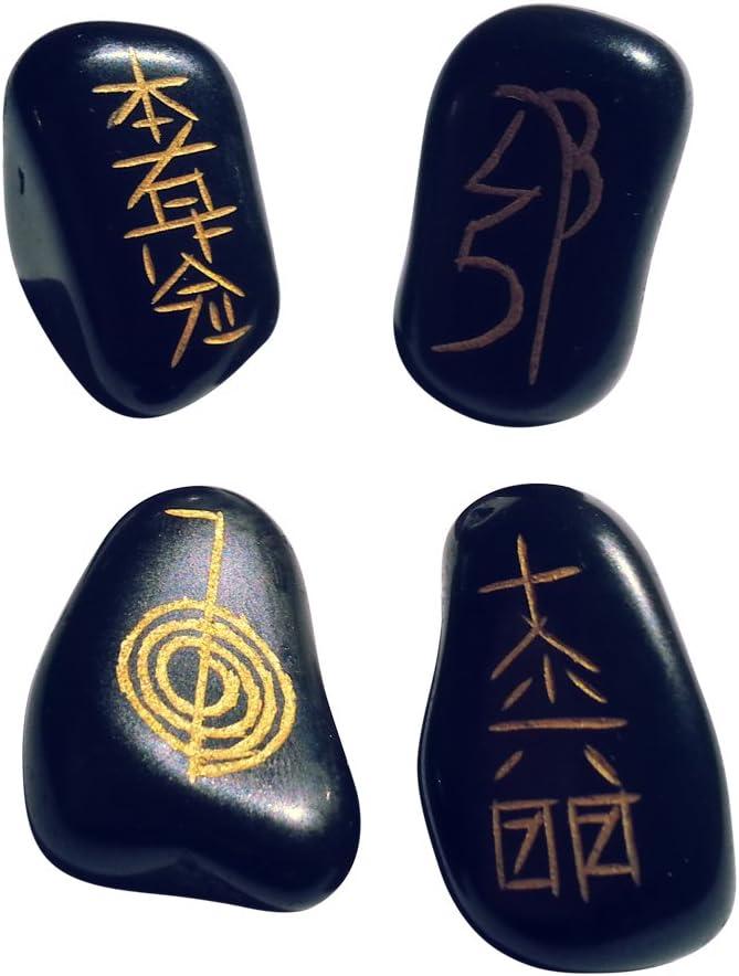 Marcas los 4Negro Ágata Piedras de Carga con símbolos usui Reiki