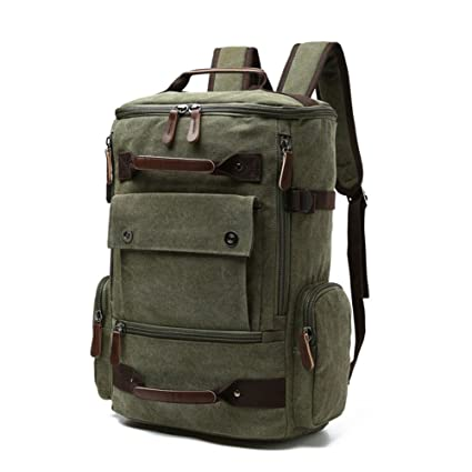 81c69bd8a5fc DCRYWRX Vintage Canvas Backpack School Rucksack High Capacity Hiking Travel  Duffel Bag Weekend Package Casual Daypack