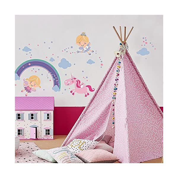 Fairy Unicorn Baby Girl Room Décor Stickers - Princess Playroom Wall Decals with Free Gift! 7