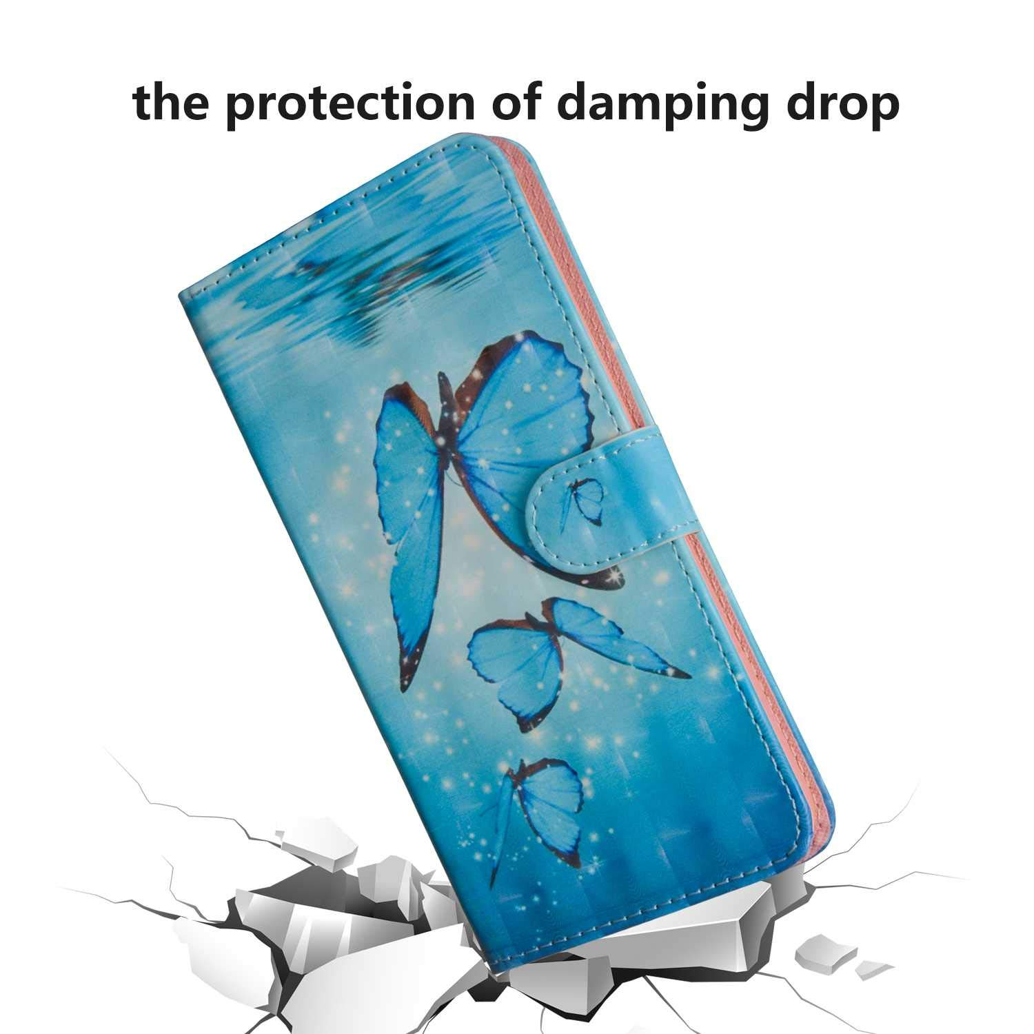 Blue Butterfly Galaxy J3 2017 Case UNEXTATI PU Leather Flip Folio Wallet Cover with Credit Card Holder and Magnetic Closure for Samsung Galaxy J3 2017