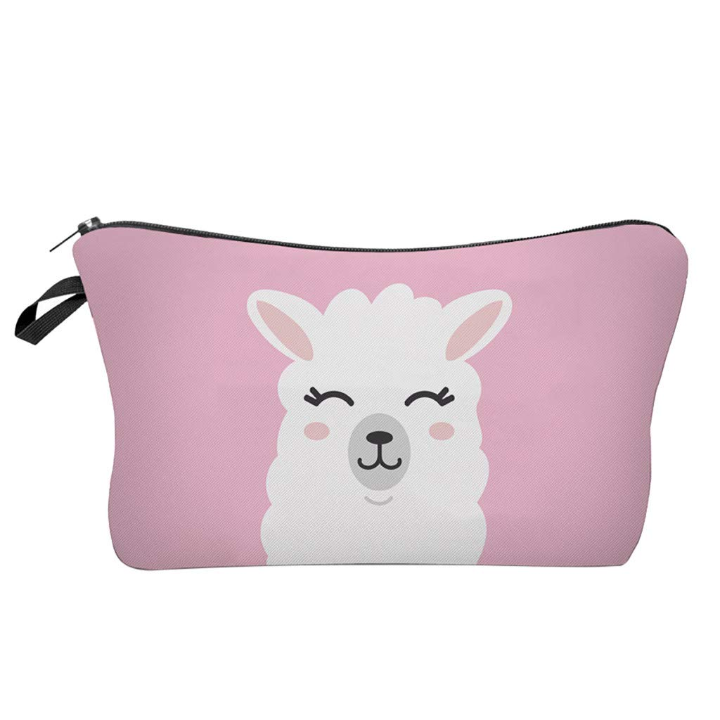 Pausseo Women Letters Alpaca Printing Makeup Cosmetic Brushes Bag Toiletry Storage Travel Handbag Student Pencil Zipper Clutch Case Stationery Box Pouch School Supplies Coins Change Pen Purse Pack (C)