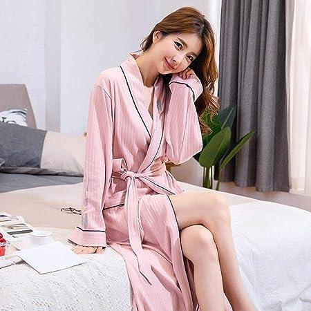 XUWLM Albornoz- Mujeres Bathrbe 100% Algodón Ducha Ropa de Dormir Camisones Albornoz Mujer Albornoz Largo Mujer Pijamas Verano Blanco Rosa, Rosa, M: Amazon.es: Hogar