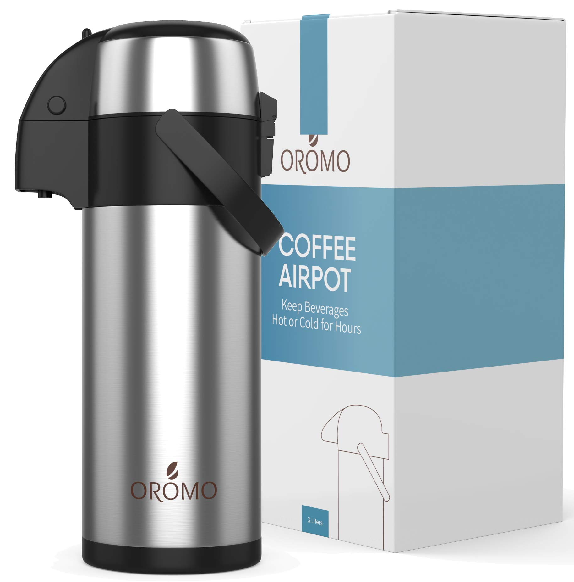 (102 oz. / 3L) Airpot Coffee Dispenser w/Pump - Large Commercial Grade Coffee Thermos/Thermal Urn Carafe Beverage Dispenser by Oromo. Keep Hot Drinks Hot for 12 Hours or Cold Drinks Cold for 24 hrs