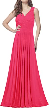 ANTS Women's Formal Straight Straps Long Bridesmaid Dresses Chiffon Prom Gowns