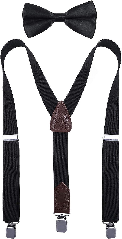 MOHSLEE Boys Adjustable Y Back Solid Color Suspender /& Bow Tie Set for Kid Child