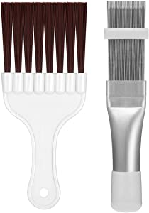 Yhslmh 2 Pieces Air Conditioner Fin Repair Comb Cleaner, Ac Condenser Coil Metal and Whisk Cleaning Brush Evaporator Radiator Vents Straightener Tool (Sliver)